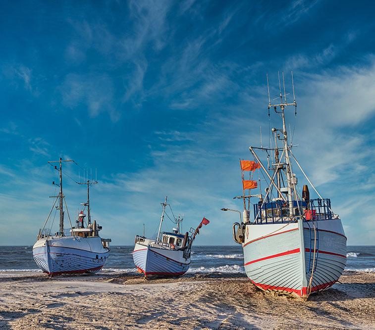 Coastal,Fishing,Boats,Vessels,At,Thorup,Beach,In,Western,Denmark