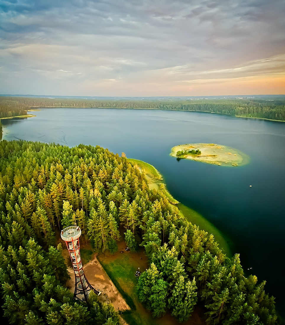 """""""labanoras"""",Watch,Tower,From,Aerial,Perspective,With,Lake,In,The"""