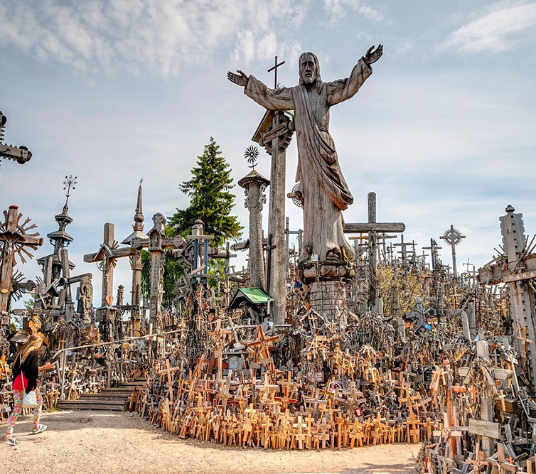 Siauliai,,Lithuania,-,July,18:,Pilgrims,Visiting,Hill,Of,Crosses