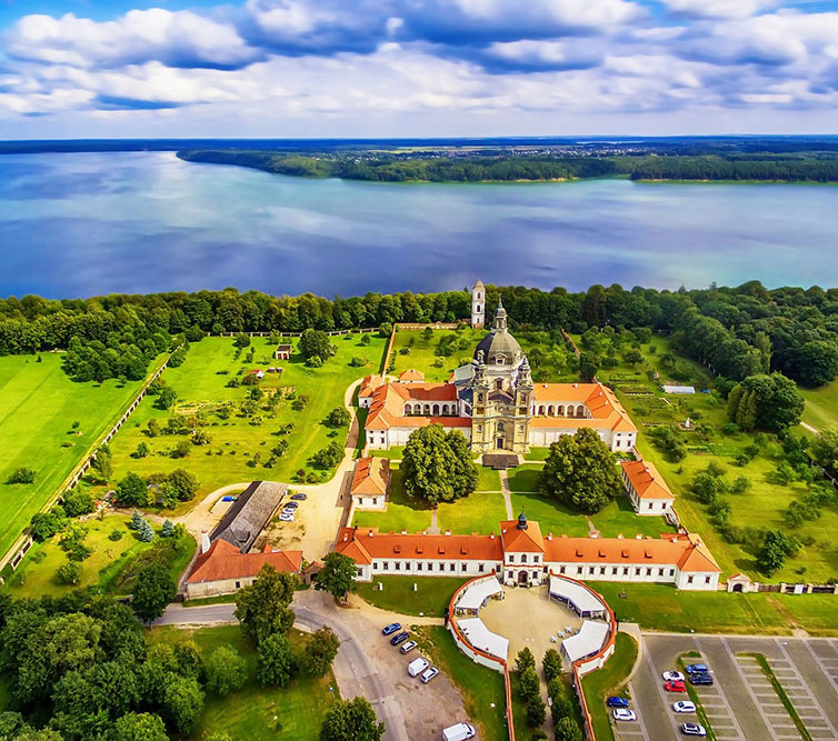 Kaunas,,Lithuania:,Pazaislis,Monastery,And,Church,,Located,On,A,Peninsula